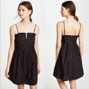 Madewell NWOT Black pintuck cami dress strawberry